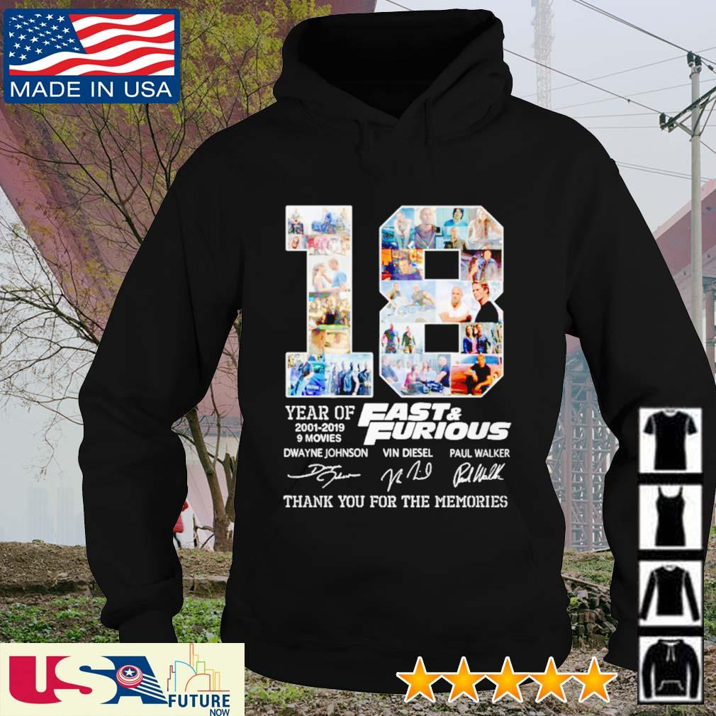 18 Years of Fast and Furious 2001 - 2019 9 movies signatures s hoodie
