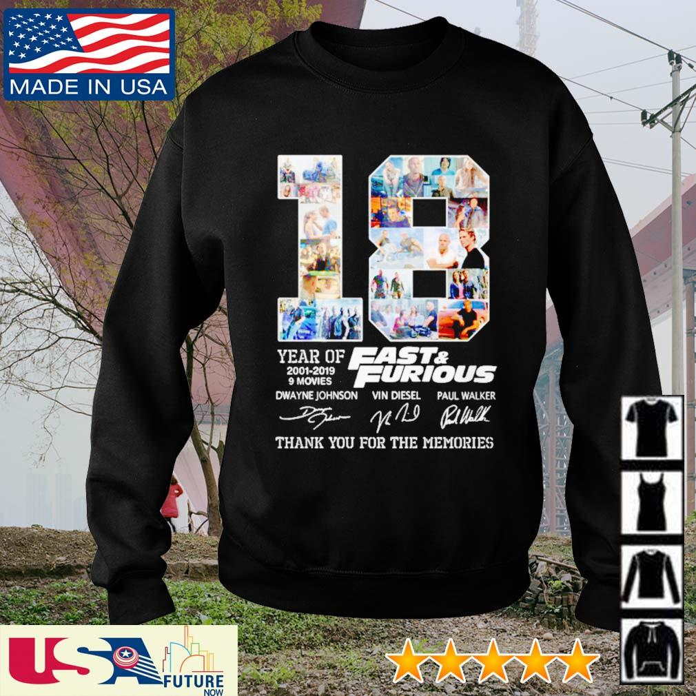 18 Years of Fast and Furious 2001 - 2019 9 movies signatures s sweater