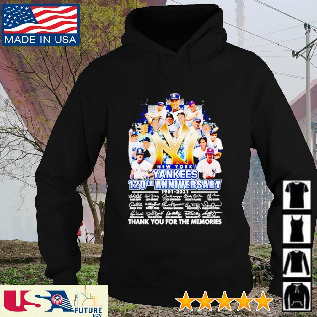 New York Yankees 120th anniversary 1901 - 2021 thank you for the memories signatures s hoodie